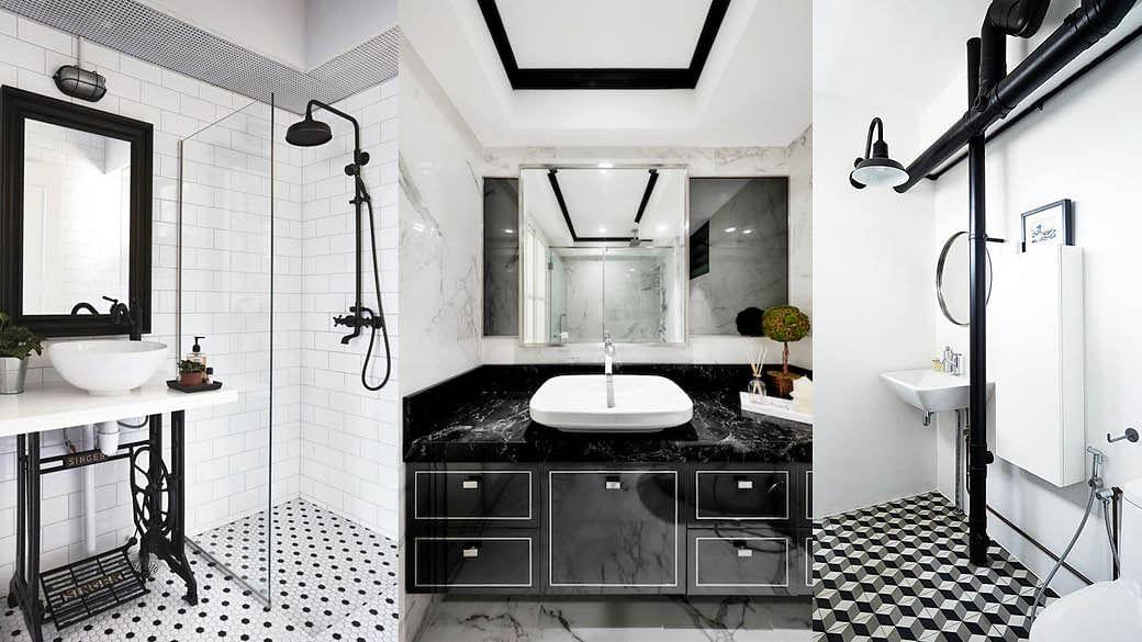 black-and-white-Bathroom interiors