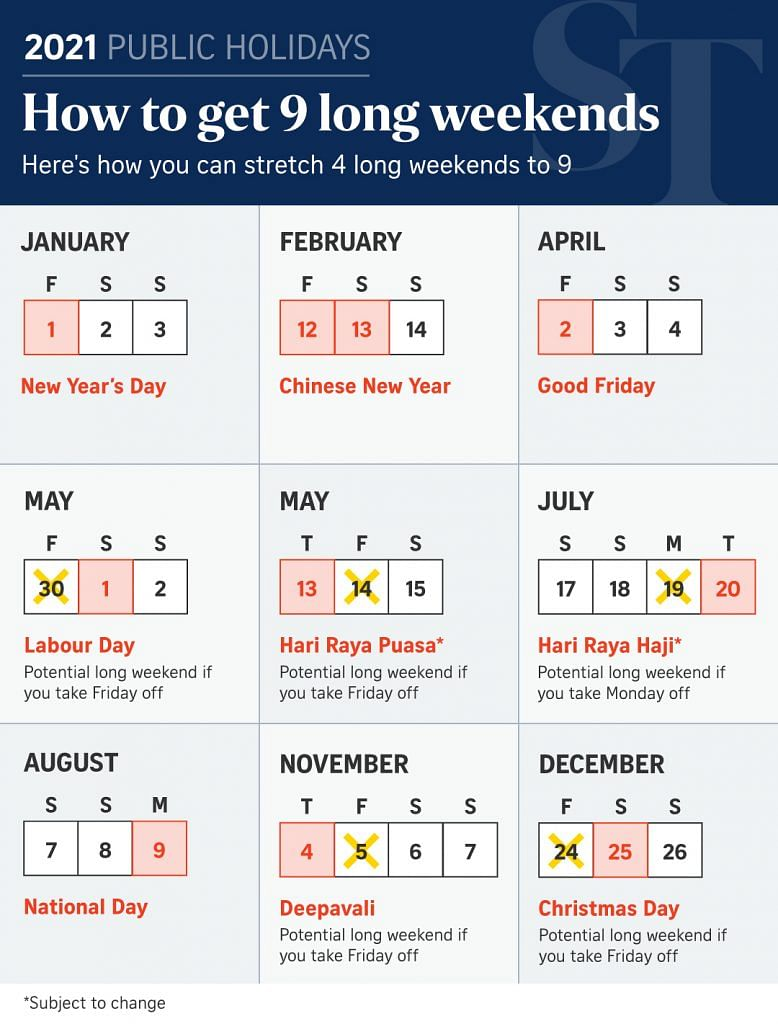 Long weekends in 2021 public holidays
