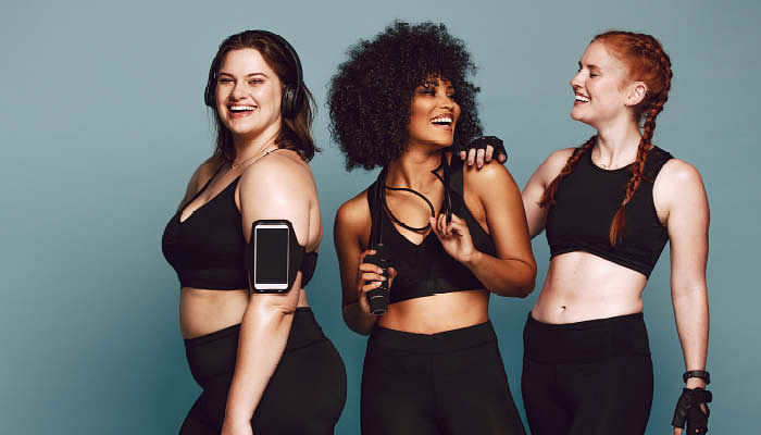 An image of three women of different ethnicity in sports wear. For a story that features high-tech body treatments like firming, anti-cellulite and fat-freezing.