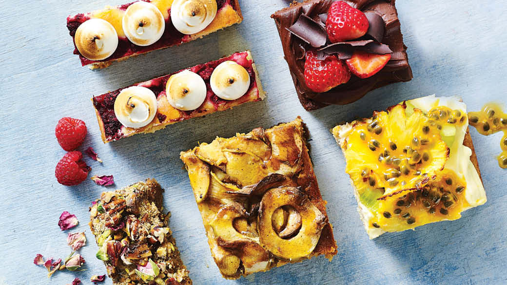 easy slab cake recipes for last-minute entertaining, chocolatey, nutty, fruity cakes
