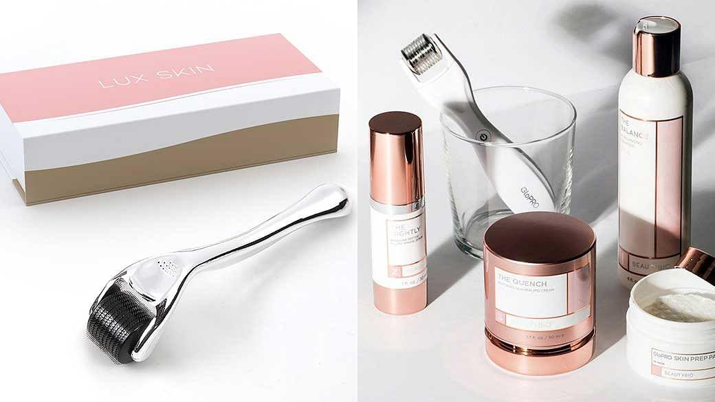 From left: LUX Skin Microneedle Derma Roller (AU$10); BeautyBio GloPRO Microneedling Regeneration Tool (AU$199)