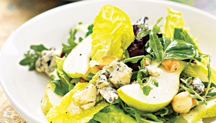 Blue Cheese Pear and Macadamia Salad