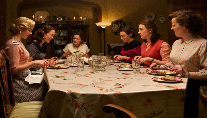 Screenshot of the dinner table scene from the movie Brooklyn