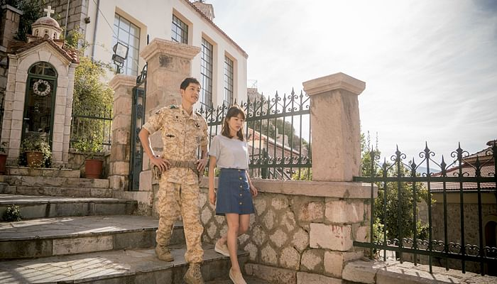 pic taken on the set of descendants of the sun in Greece.