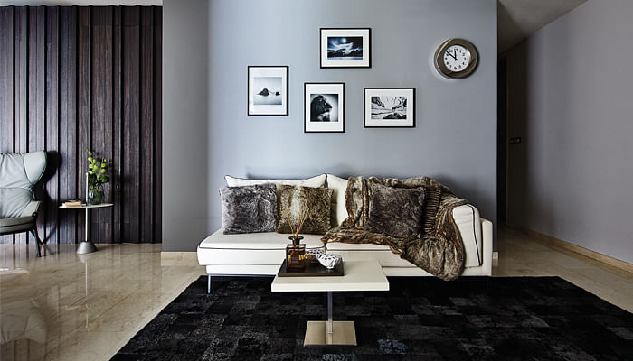 modern living room with well-positioned photos on the wall and a leopard skin throw on the sofa