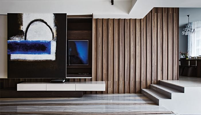 hidden storage shelves of a living room