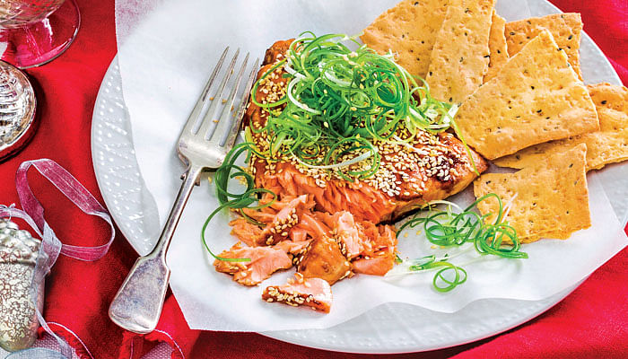 Sesame-Glazed Salmon Christmas Dinner