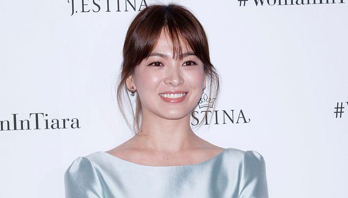 song hye kyo in a silk blue dress