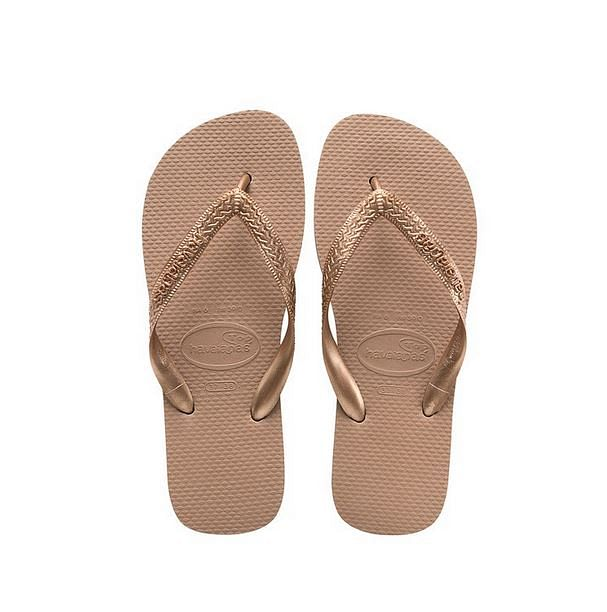 Rose gold slippers from Haviannas.