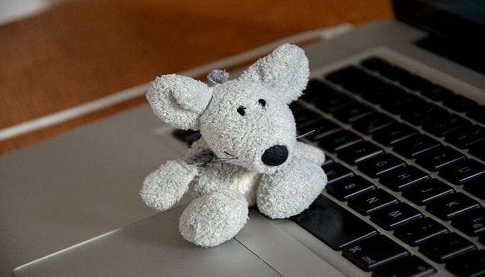 Mouse toy on a laptop keypad