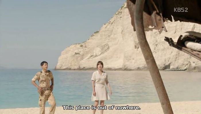 Song Hye Kyo in flared skirt in Descendants Of The Sun