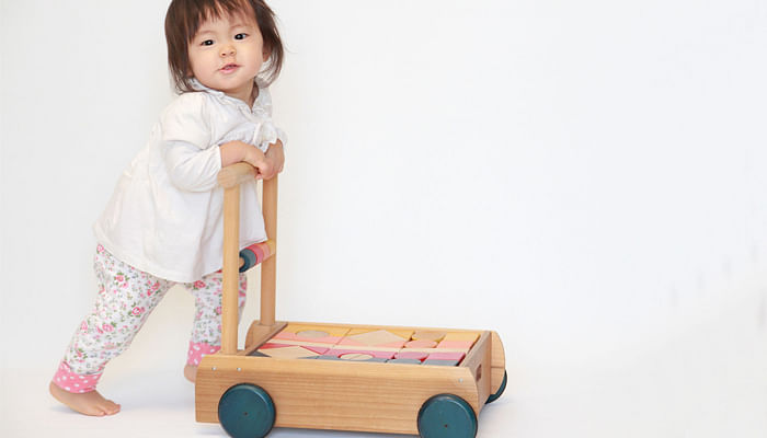 girl pushing a small trolley