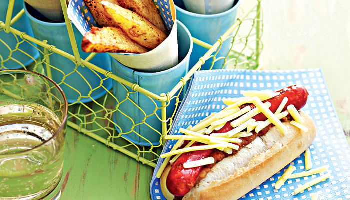 Mexican hot dogs and hand cut chips make a perfect outdoor party lunch