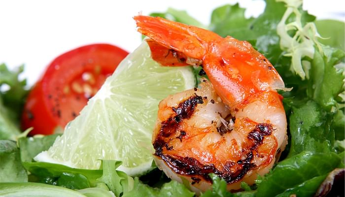 salad with grilled prawns.