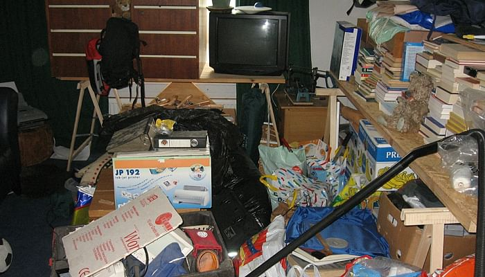 a messy bedroom