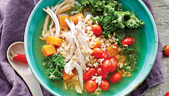 Every spoonful of this chicken and kale power soup contains plenty of body-building ingredients