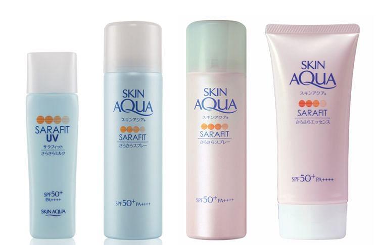 Sunplay Skin Aqua Sarafit range, SPF50+ PA++++, $9.90 - $16.90