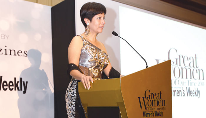 Ms Indranee Rajah giving a speech at Great Women Of Our Time 2014