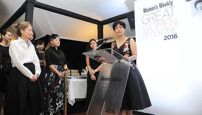 Indranee Rajah giving a speech at Great Women Of Our Time 2016 Awards Cocktail Ceremony
