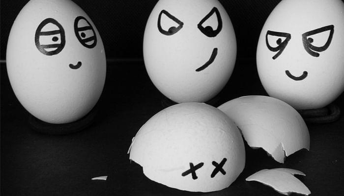 egg shells angry broken