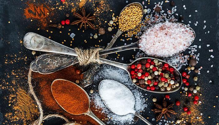 Spices salt sugar pepper turmeric