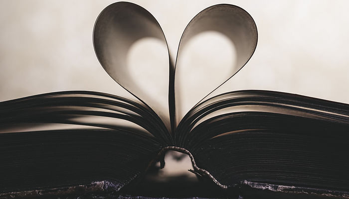 book with paper heart love