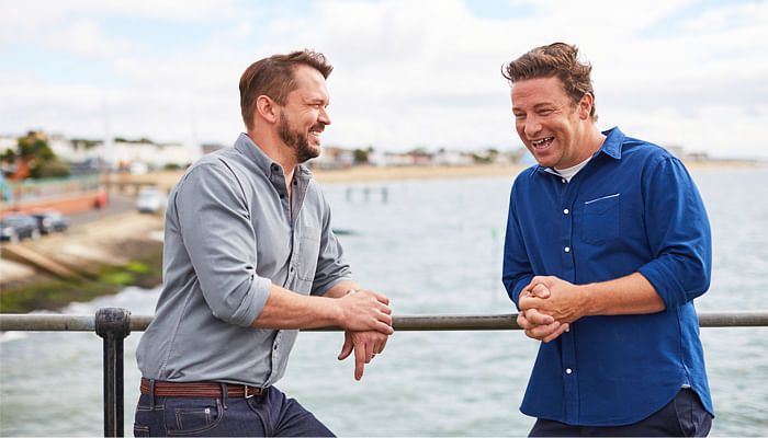 Expect food love and food fights from celebrity chef Jamie Oliver and his friend Jimmy Doherty.jpg