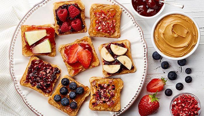 Breakfast-toast-jam-peanut-butter-fruits