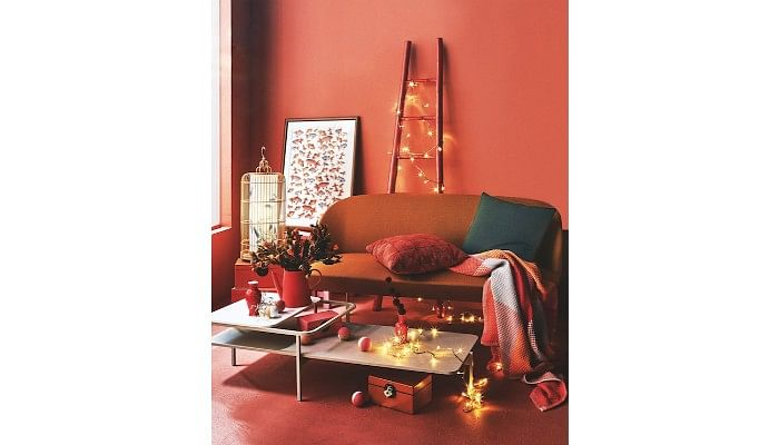 Red living room space