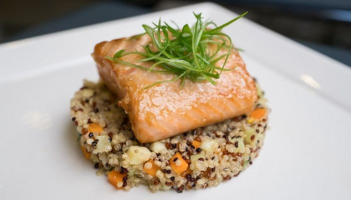 Marinated Salmon on Vegetable Quinoa mother's day recipes