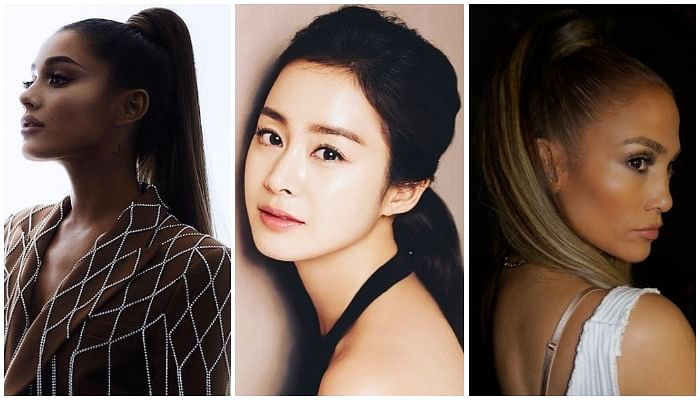See How Kim Tae Hee, J Lo & Arianna Grande Flaunt The Same High Ponytail Hairstyle